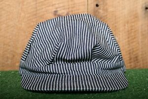 BRONER Blue & White Hickory Striped Railroad Engineer Conductor Hat Youth L/XL