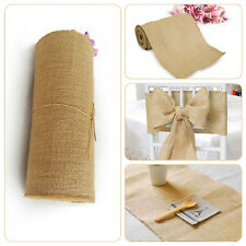 10M x 30CM Rustic Hessian Table Decor Runners Roll Fabric Natural Jute Wedding