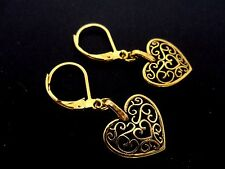 A PAIR OF GOLD COLOUR DANGLY HEART  LEVERBACK HOOK EARRINGS. NEW.
