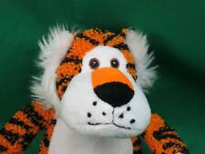 COOL ORANGE BLACK NUBBY MATERIAL SITTING TAGGER EMBROIDERED PLUSH STUFFED ANIMAL