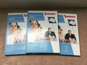 3 X Boxes Of Viking Multifunctional Labels, 105 X 37mm, 4800 Labels In Total