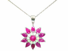 3.24ct Ruby & Diamond Necklace in 18K White Gold