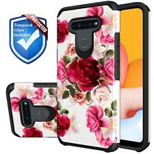 For LG Stylo 6 Phone Case Red Floral Rubber Hard Cute Girl Cover +Tempered Glass