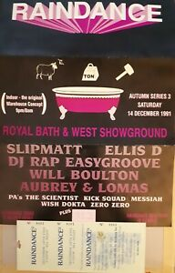 Raindance 14.12.91 rave flyer & ticket @ the royal bath and west showground