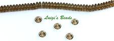 50 Smoky Topaz Czech Glass Rondell Spacer Beads 6mm