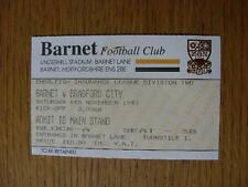 06/11/1993 Ticket: Barnet v Bradford City (Slight Mark). No obvious faults, unle