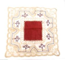 """Antique Lace Embroidered Handkerchief Scarf 13"""" Square"""