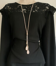 "Stunning 32"" long rose gold tone bead & rose quartz pendant lariat necklace"