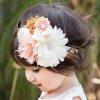 Flower Lace Rhinestone Headband Elastic Hair Band Baby Girl Kid Hair Accessor IO