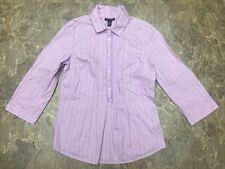 Tommy Hilfiger Sz M Purple Half Button 3/4 Sleeve Dress Shirt Top Blouse Cotton
