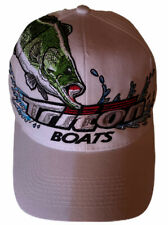 Triton Boats Embroidered Bass White Cap Hat Snapback Adjustment Green Bill