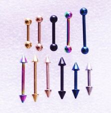 16g 6-14mm Anodized Piercing Nipple Helix Tragus Ear Earing Barbell Bar Coloured