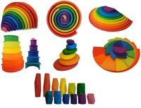 Gamez Galore Wooden Rainbow Colourful Stacking, Balancing and Sorting Blocks Toy