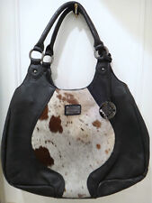 PATRICK COX LARGE BLACK LEATHER HANDBAG WITH PONYSKIN INSERT