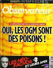 LE NOUVEL OBSERVATEUR N°2498  20 SEPTEMBRE 2012  OGM=POISON/ NEO-FACHOS/ DIAM'S