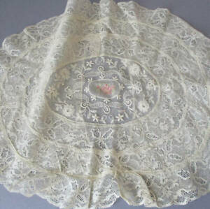 Vintage Creamy NORMANDY LACE Style OVAL Boudoir PILLOW Cover Embroidered Flowers