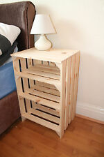 Bedside Table Cabinet Vintage Crate Style