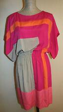 Suzi Chin 🌼 Dolman sleeve Sheath Dress Colorblock Hot Pink SZ:6 Fits up to 10