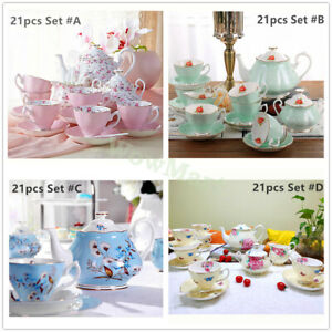 Fine Bone China Pottery Porcelain Elegant Ceramic 21pc Coffee Tea Pot Cup Set