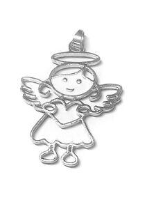 großer Anhänger Schutz Engel mit Herz silber weiß Flügel filigran Kinder Kette