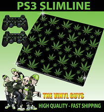 PLAYSTATION PS3 SLIM STICKER CANNABIS LEAF BLACK WEED MARY JANE SKIN & PAD SKIN