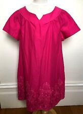 COLLETTE DINNIGAN Enfant Hot Pink Short Cuff Sleeve Embroidered Paisley Dress 10