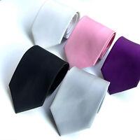 Men Skinny Slim Retro Tie Narrow Necktie Solid Color Business Wedding