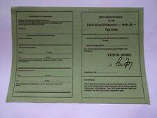 abe vespa PIAGGIO CIAO Mofa 25 blanco Betriebserlaubnis Papier DOKUMENTENPAPIER