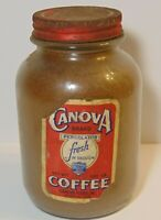 Old Vintage 1930s CANOVA COFFEE GRAPHIC ONE 1 POUND COFFEE JAR MEMPHIS TENNESSEE