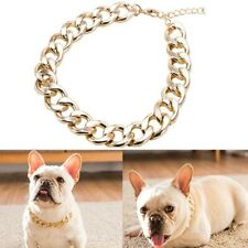 1x  Dog Chain Collar Big Gold Plated Curb Training Walking Slip Link xkj