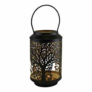 18cm Small Tree of Life Black Votive Candle Holder Lantern Laser Cut Out Design
