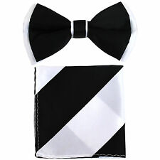 New Men's Pre-tied Bow Tie & Pocket Square Hankie set Black White wedding prom