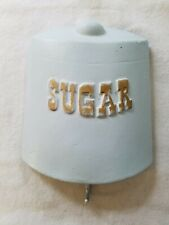 """Pale Blue Chalkware or Plaster Wall Hanging w/ Hook at Bottom & """"Sugar"""" on Front"""