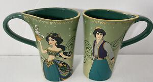 Disney Store Jasmine & Aladdin set lot of 2 Collector Coffee Cups Mugs  5.5 inch