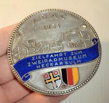 AUTOPLAKETTE ADAC Zielfahrt zum Zweiradmuseum NECKARSULM AUSSTELLUNG 1958 A49