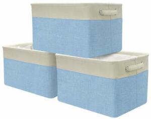 Large Storage Basket Set Rectangular Fabric Collapsible Organizer Bin Box 3-Pack