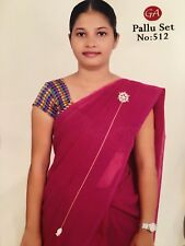 Z5 Moti Pallu Saree Set Bollywood Indian Sari Pearls Jewellery Gold Tone