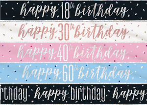 9ft Glitz Happy Birthday Foil Banners All Ages Party Decorations