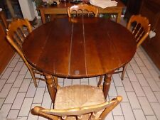 Table ancienne, table ronde à rabbats, table en merisier massif Louis Philippe