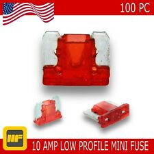 100 Pack Low Profile Mini Blade Fuse 10 Amp Marine SUV Truck Auto RV Automotive