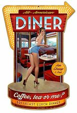 COFFEE TEA OR ME SHAPED HILDEBRANDT METAL SIGN PINUP GIRL HAND SIGNED FREE PRINT