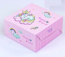"10 x Pink Unicorn Striped Bakery Box Cake Cupcakes Muffins Dessert Gift Party 5"""