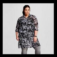 AVA & VIV NEW Womens PLUS 1X 2X 3X 4X Tunic Top Sheer Shirt Black White Print