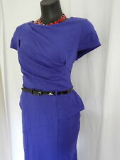 SIZE 12 SMART FLATTERING BLUE VINTAGE FEEL PEPLUM DETAIL DRESS - BLUE