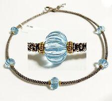 """$1,150 Lagos 16"""" 18k Gold Silver Caviar Forever Sky Blue Topaz Necklace Women"""