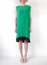 HOF115: & Other Stories Kleid seide leder / Dress silk leather green 36 UK 10