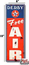 "6""X20"" RUSTY LOOKING DERBY FREE AIR meter decal lubster gas pump oil man cave"