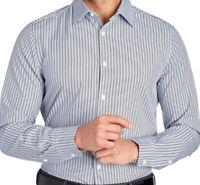 Perry Ellis Mens L/S Shirt Large Slim Fit Stretch Blue & White Chevron Print NWT