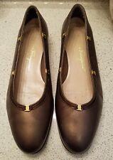 Salvatore Ferragamo Boutique Vara Bow METALLIC Brown Patent Leather 4 1/2 B EUC!