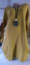 Damenkleid Celine Langarm Herbst Winterkleid Strick Curry Made in Italy Gr 42